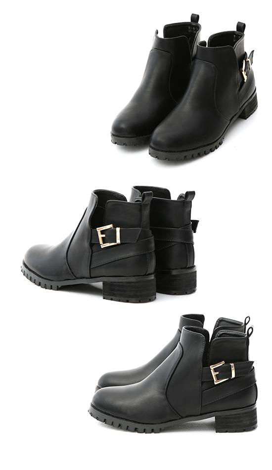 サイドカッティングベルト付きブーツ ブラック