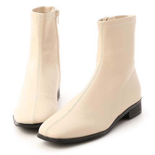 定番焦點.中車線方頭低跟襪靴 米色