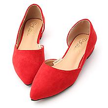 D+AF 典雅品味.素面絨料側挖空尖頭鞋