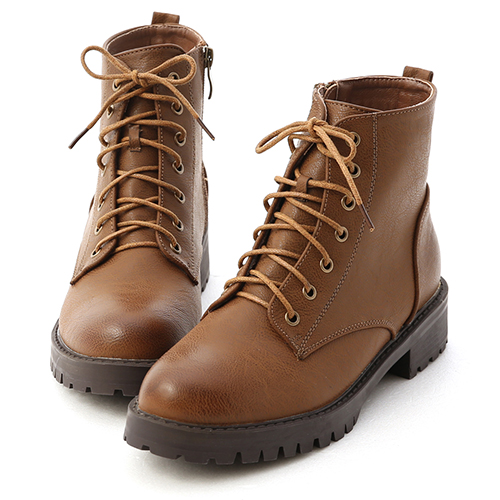 街頭潮流.仿舊感擦色綁帶軍風短靴