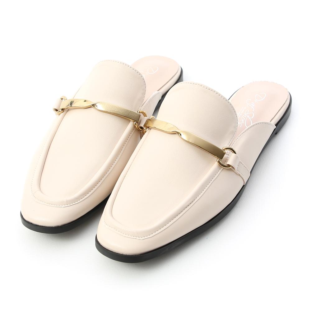 質感風尚.金屬扭結方頭穆勒鞋 香草米白