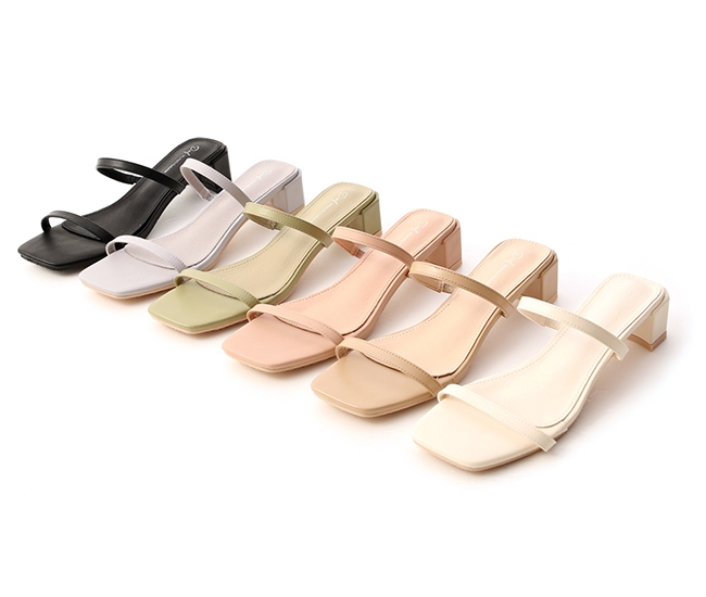 Square Toe Two Strap Mid Heel Sandals Nude pink