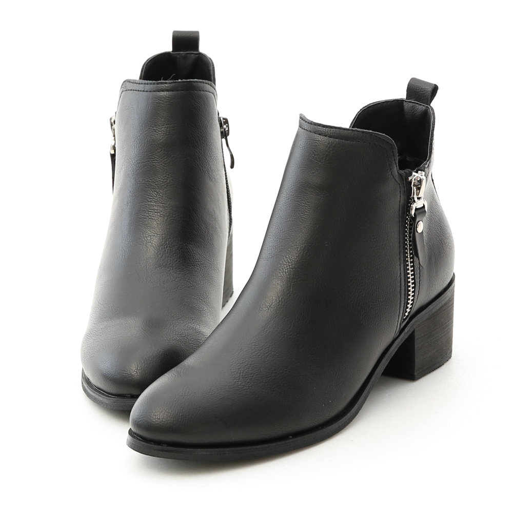 Side Zip Mid Heel Ankle Boots Black