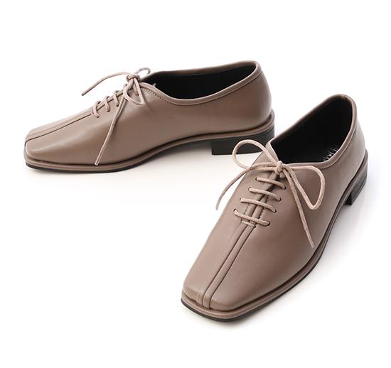 摩登時代.中車線方頭低跟牛津鞋 中性灰