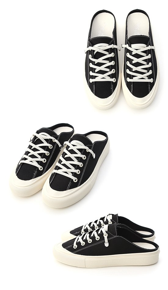 Elastic Lace Canvas Mule Sneakers Black