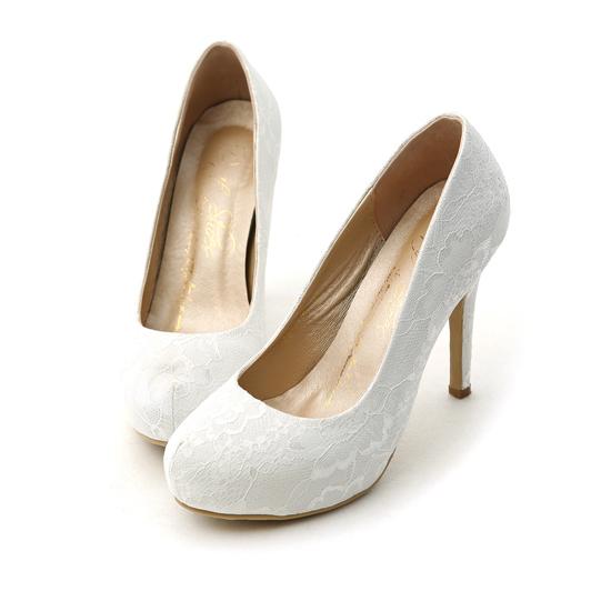 新娘物語.法式蕾絲素面水台高跟鞋 典雅白
