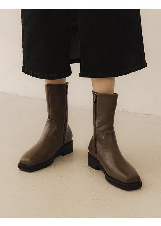 百搭潮流.素面方頭低跟中筒靴 摩卡灰棕
