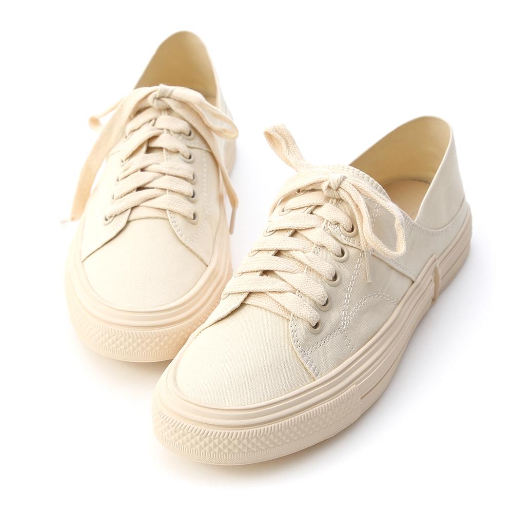 街頭休閒.帆布綁帶後踩式休閒鞋 人氣米白