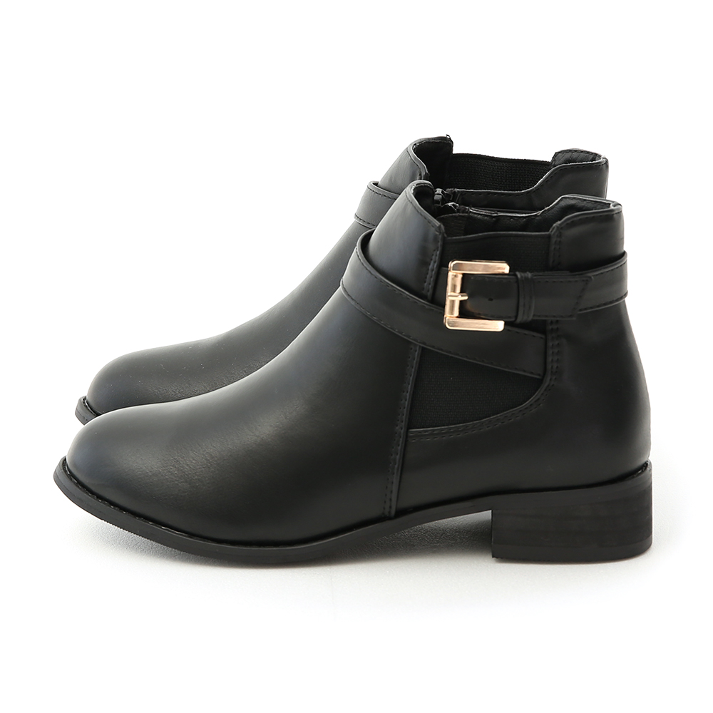 D+AF 個性首選.側鬆緊金屬釦環繞帶短靴
