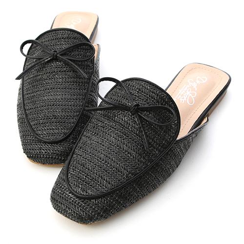沁涼夏日.小蝴蝶結草編穆勒鞋