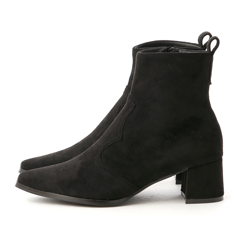 Suede Stitching Mid-Tube Boots Black