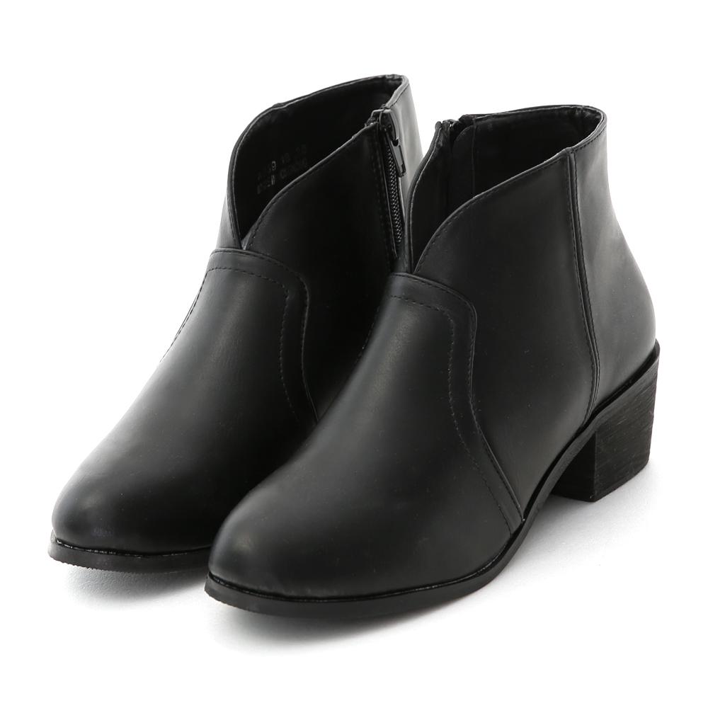 素面小V口低跟短靴
