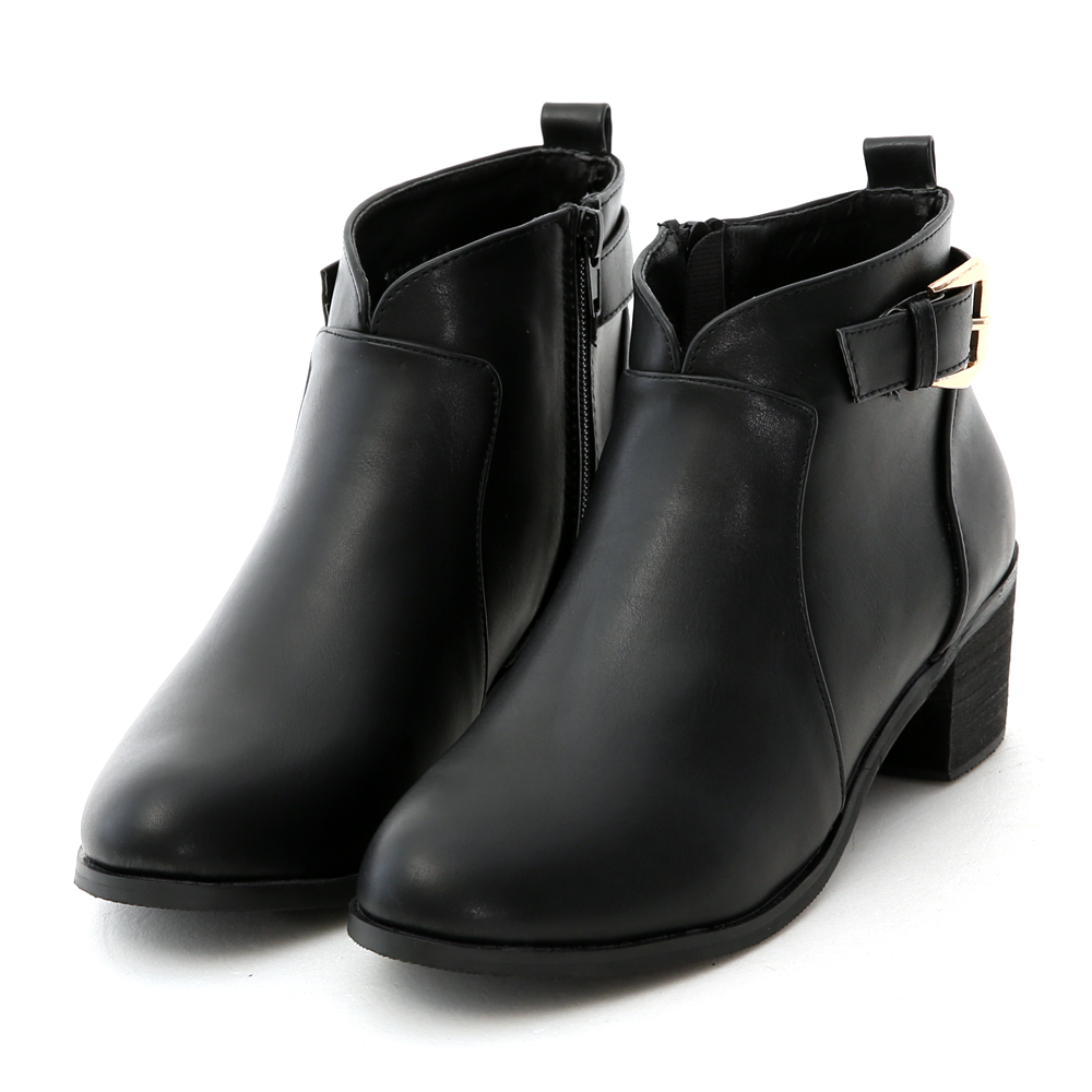 V-Cut Side Buckle Ankle Boots Black