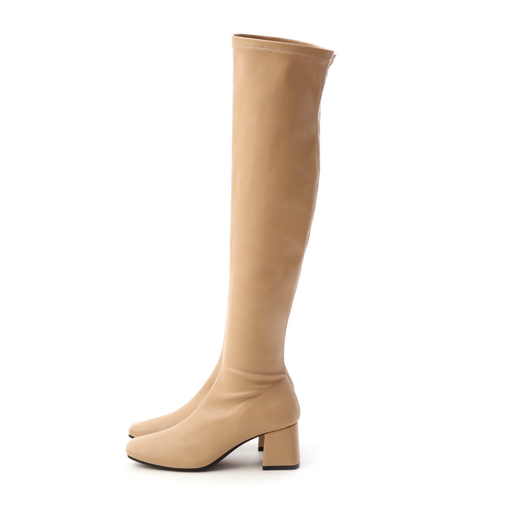 Classic Square Toe Tall Boots Beige