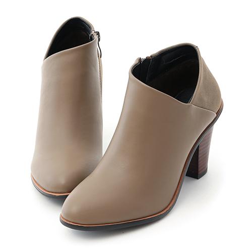 D+AF 優雅風尚.側V口拼接高跟短靴