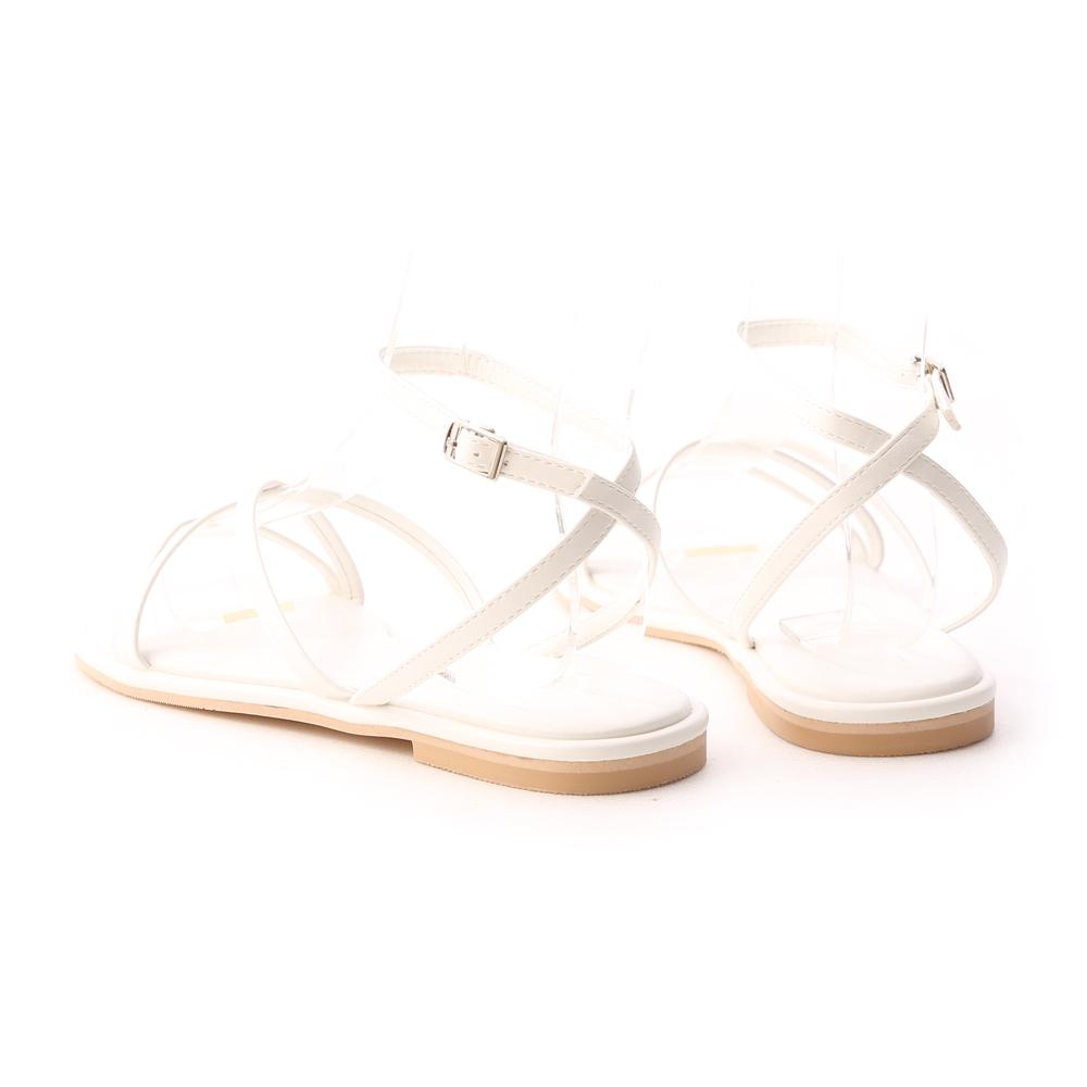 夏天的風.細帶交叉平底涼鞋 香草米白