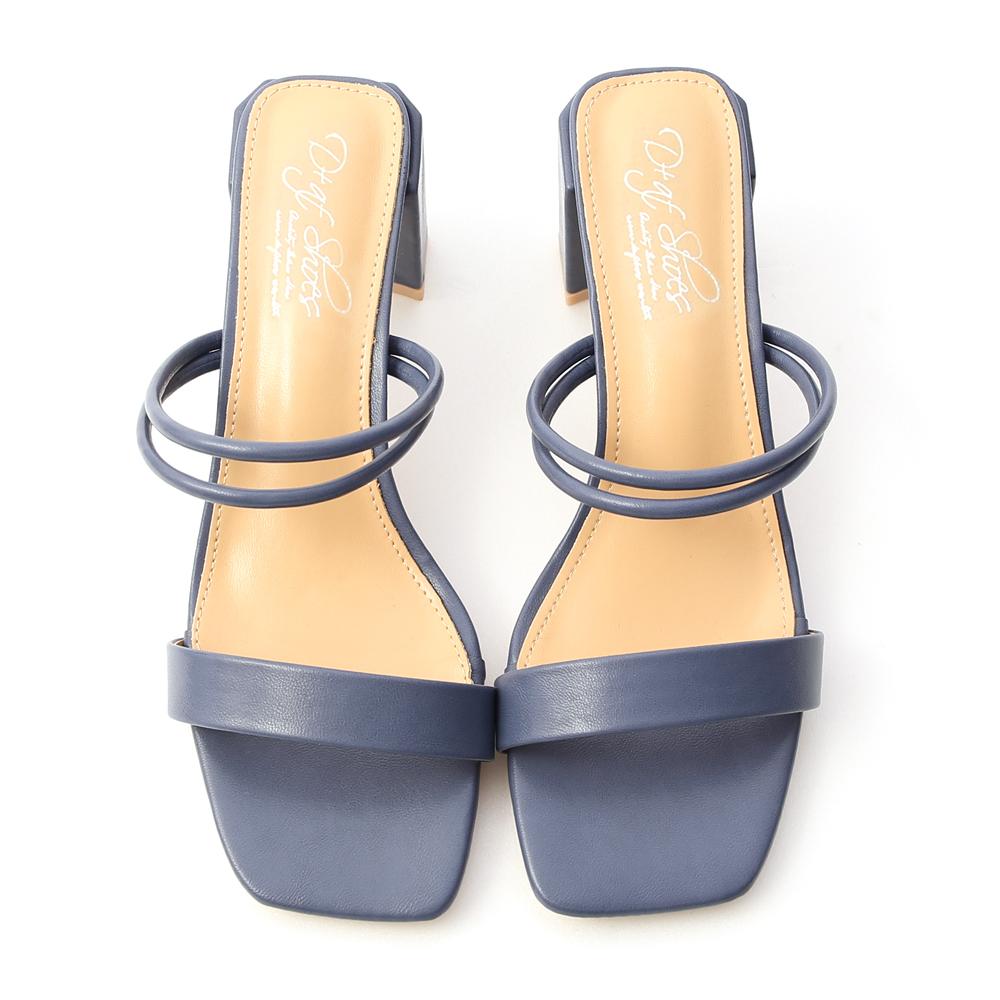 純真夏戀.二穿法一字高跟涼鞋 暮藍色