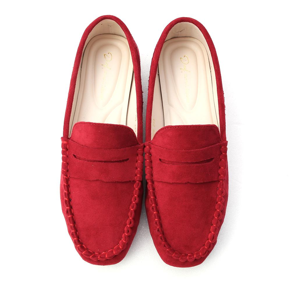 歡樂主張.經典款絨料樂福鞋 酒紅色