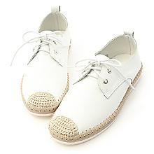 D+AF 休閒樂活.真皮草編風綁帶小白鞋