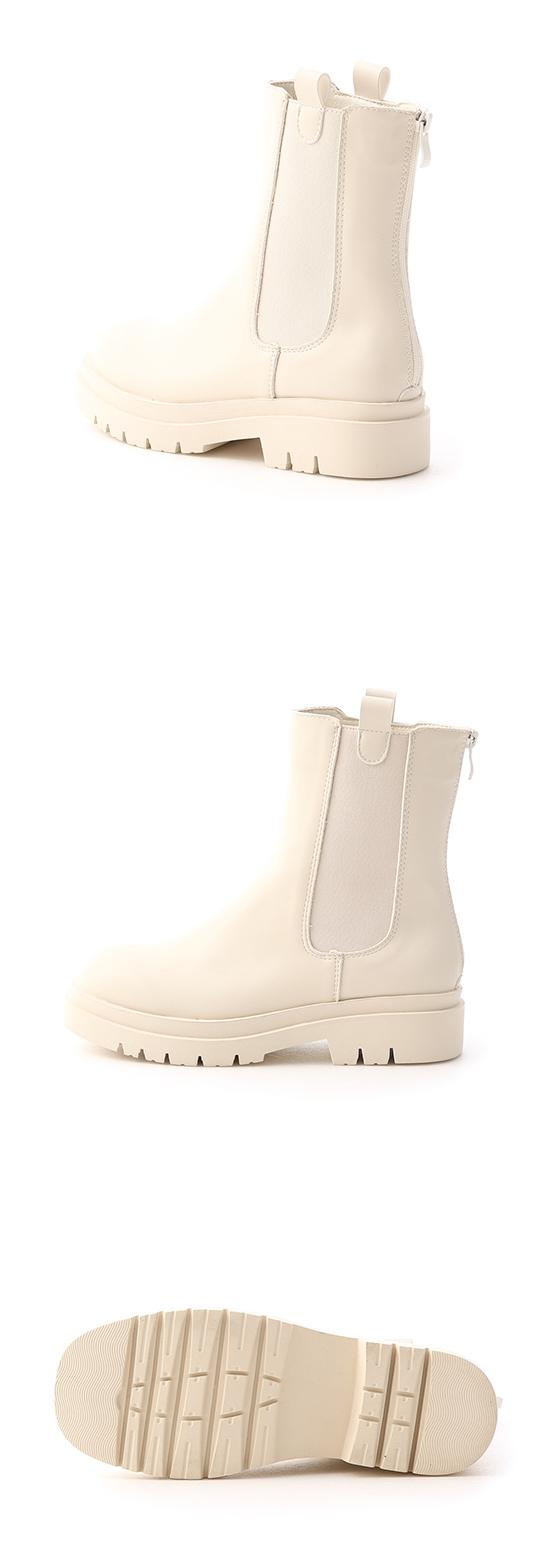 焦點時尚.加厚鞋底切爾西短靴 香草米