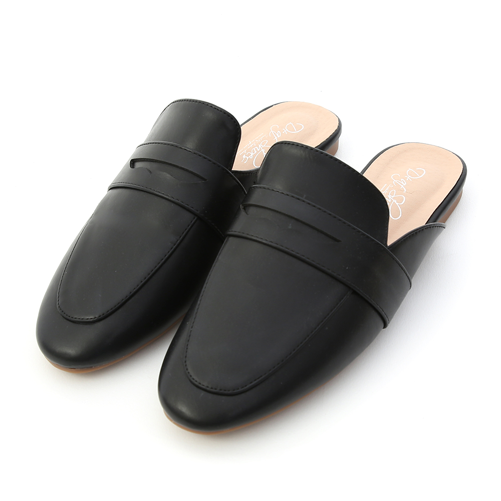 Penny Loafer Mules Black