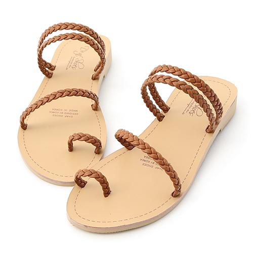盛夏氣息.麻辮編織平底涼拖鞋