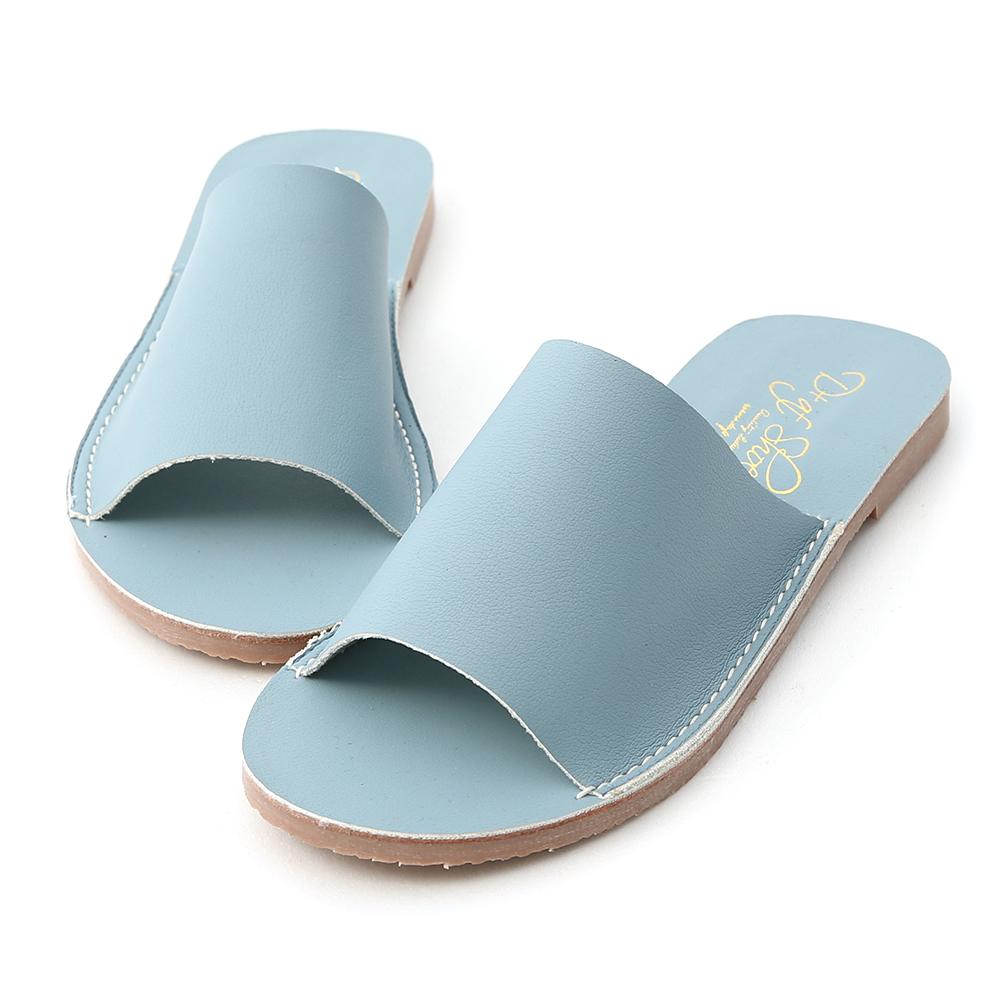 愜意搭配.寬版一字超軟平底拖鞋 迷霧藍
