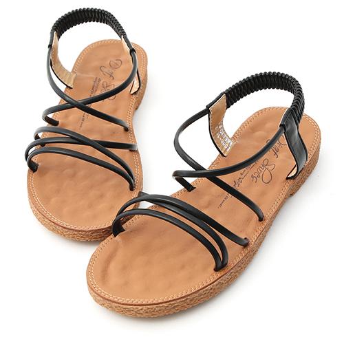仲夏氛圍.交叉細帶平底涼鞋