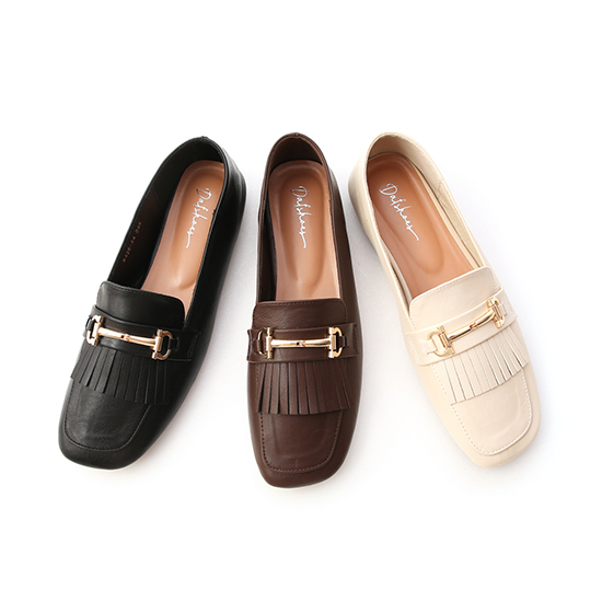 Square Toe Tassel Horsebit Loafers Vanilla
