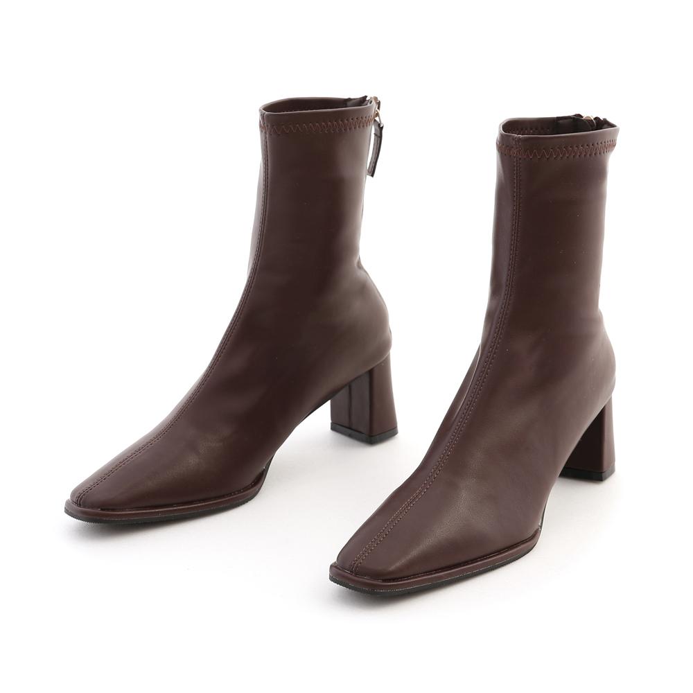 美腿歐膩.微尖頭中車線高跟襪靴 復古咖