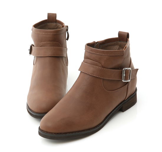 Side Button Platform Boots Brown