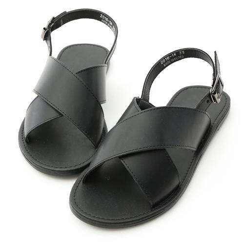 D+AF 隨性自在.寬版交叉平底涼鞋