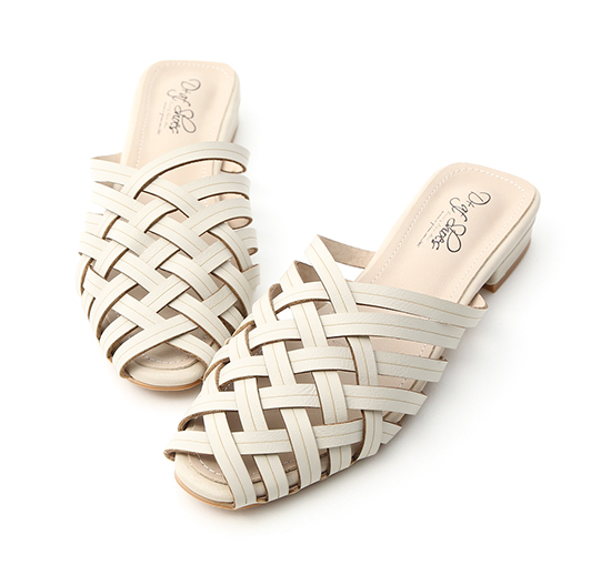 Woven Faux Leather Mules Off-White