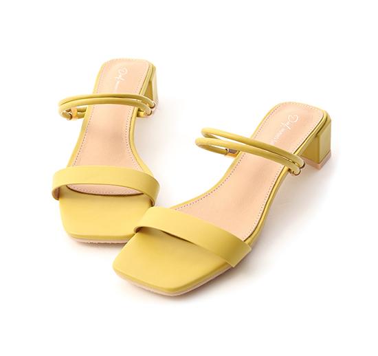 霓虹色調.二穿法一字中跟涼鞋 櫻草黃