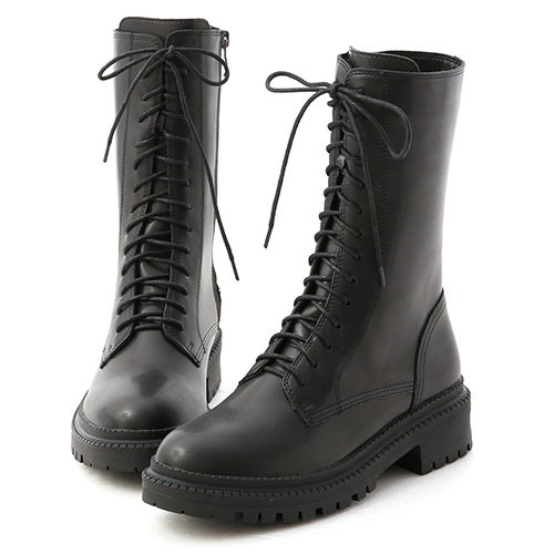 黑色風潮.厚底綁帶中筒馬汀靴