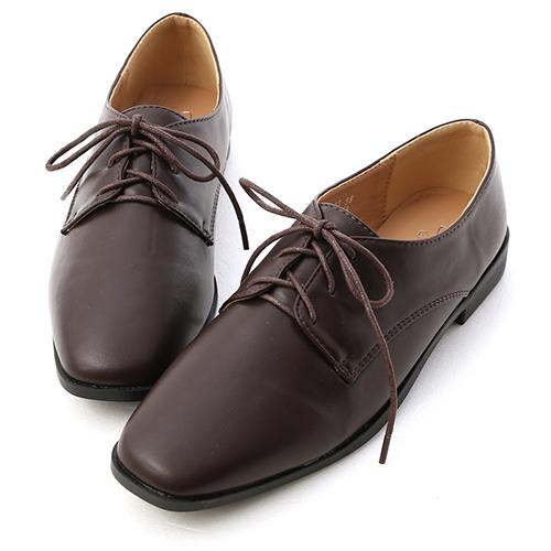 小時代.素面方頭綁帶牛津鞋
