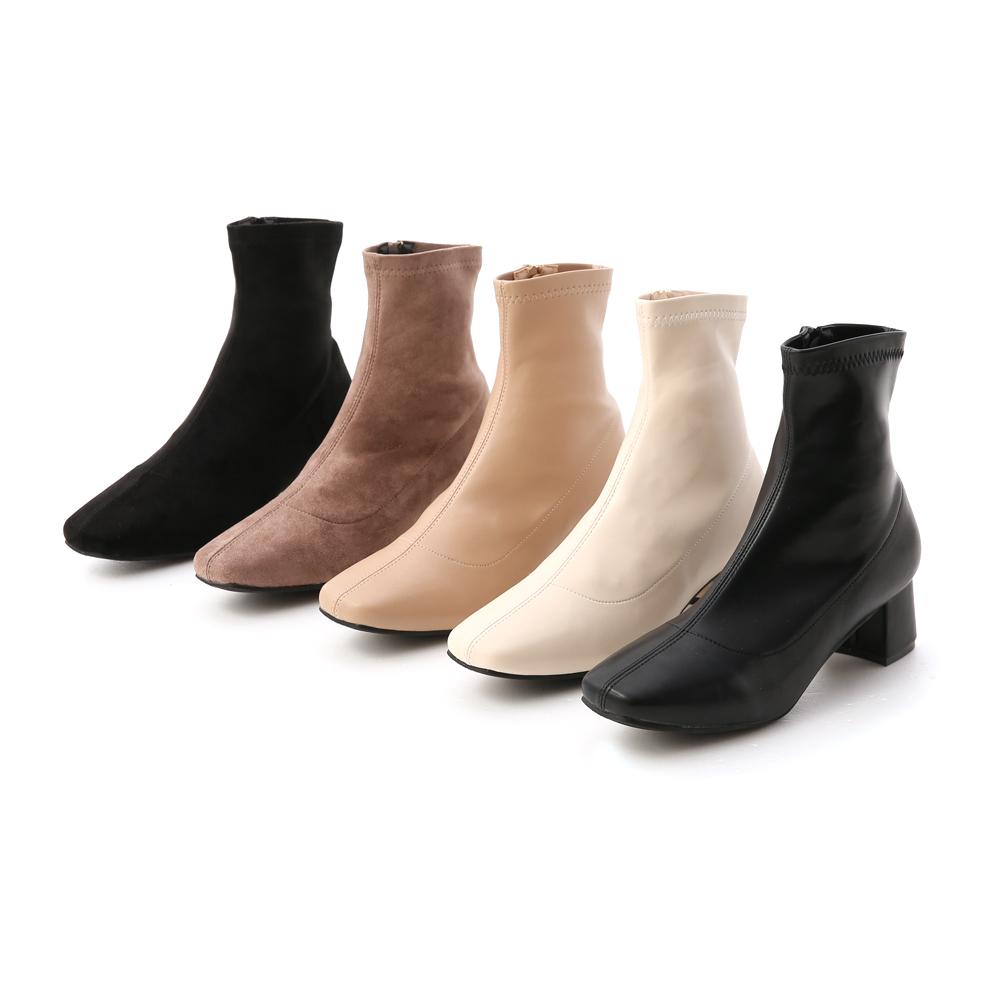 秋冬定番.素面合腿中跟方頭襪靴 質感黑絨