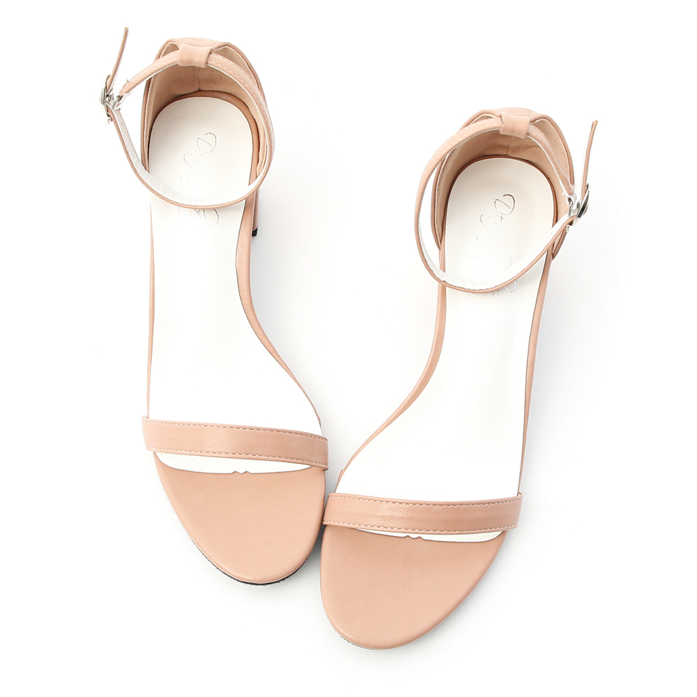 Ankle Strap Mid Heel Sandals Nude pink