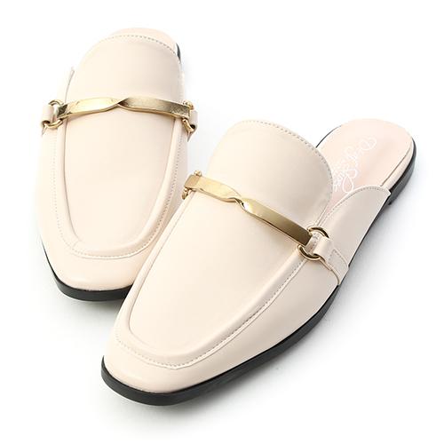 D+AF 質感風尚.金屬扭結方頭穆勒鞋