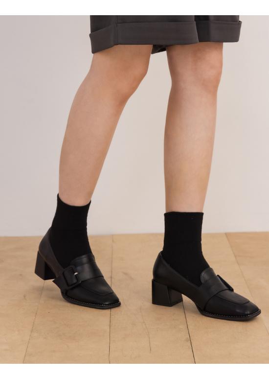 漫步倫敦.大方釦中跟樂福鞋 時尚黑