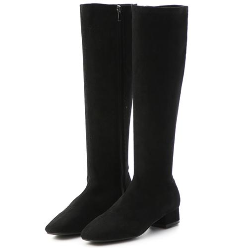 D+AF 人氣百搭.素面顯瘦感合腿長靴(絨布)