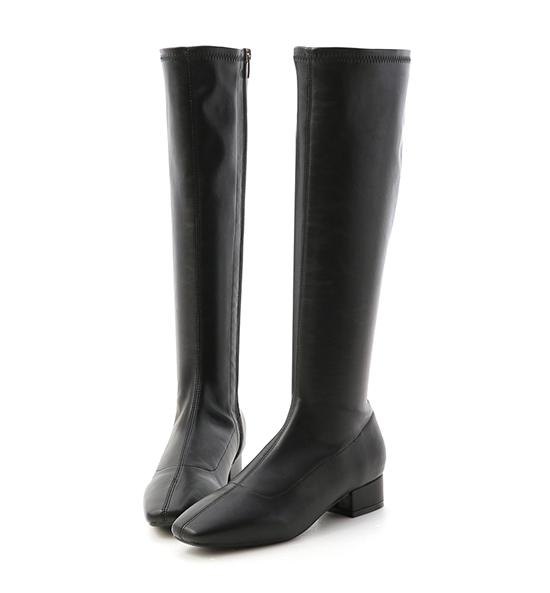 Slim-fit Low Heel Tall Boots Black