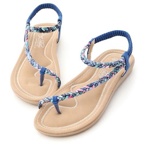 花漾夏氛.麻辮花布斜編織平底涼鞋