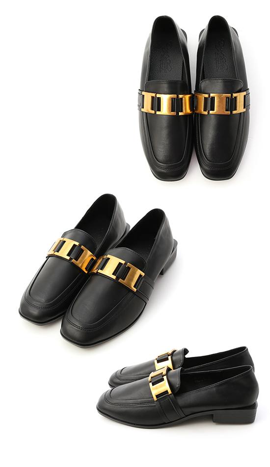 英式貴族.工字質感金屬釦樂福鞋 時尚黑