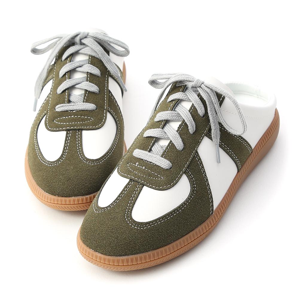 活力宣言.麂皮拼接保齡球穆勒鞋 復古綠