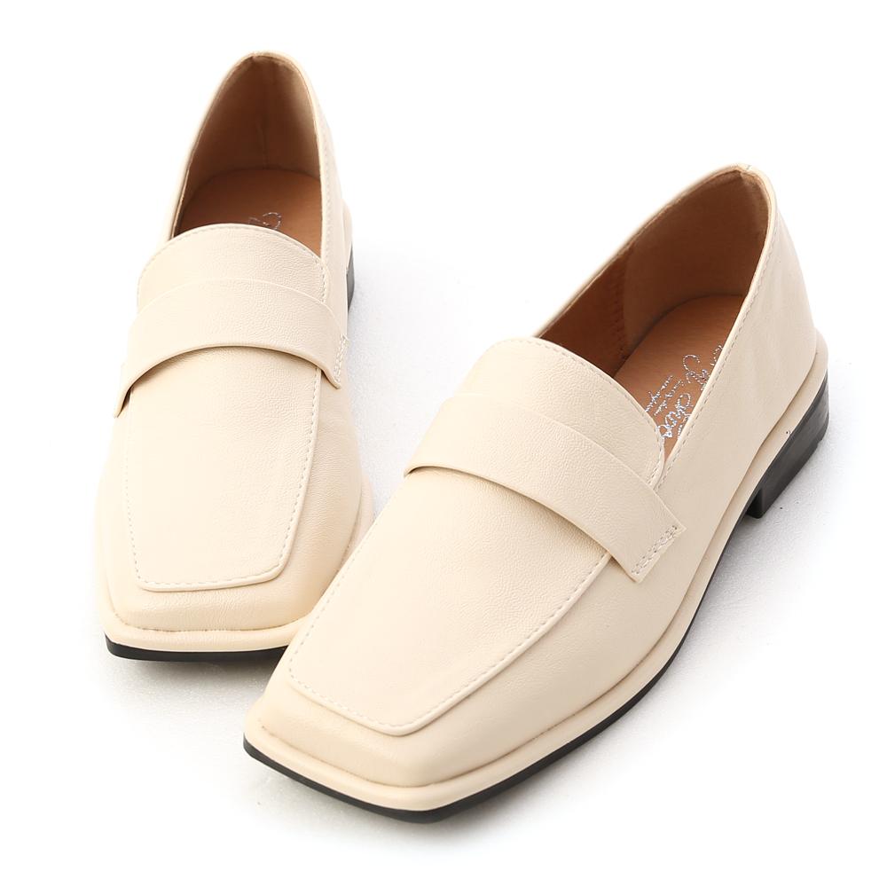 D+AF 復古年代.雙層設計方頭樂福鞋