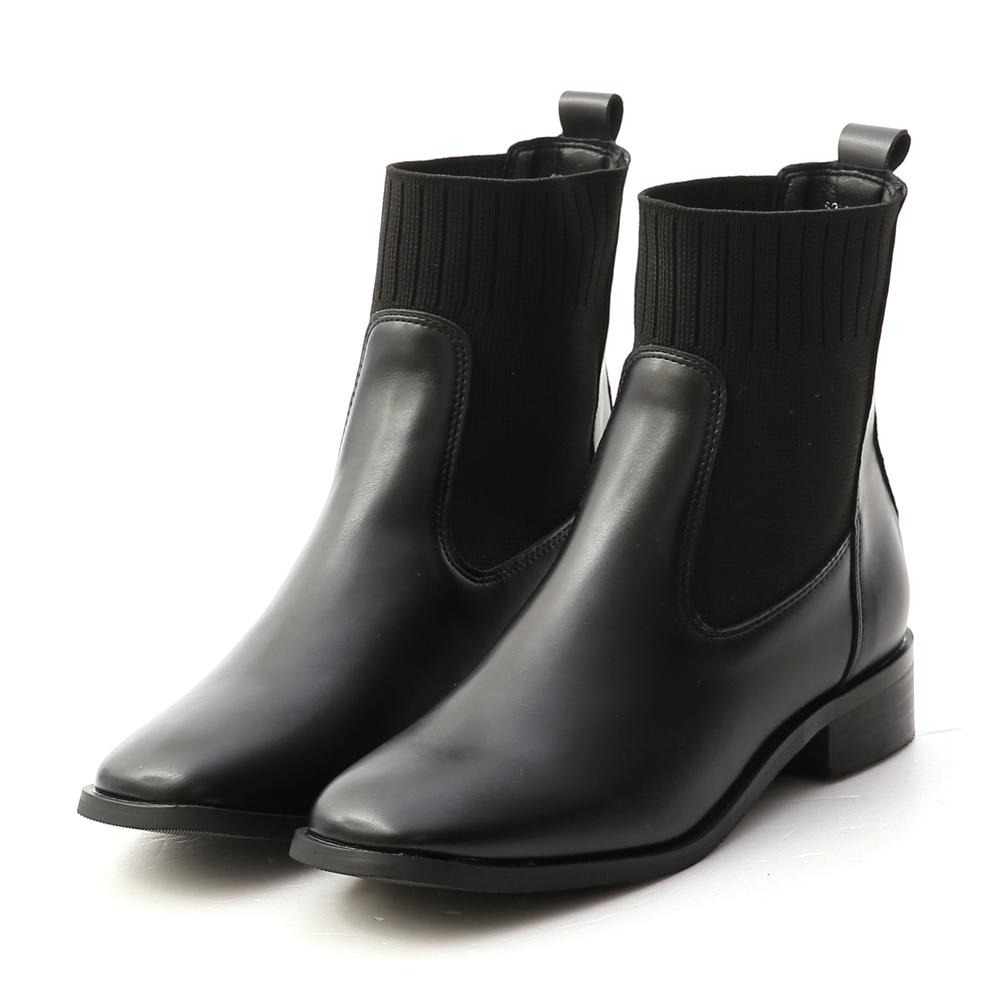 街拍主題.針織拼接切爾西短靴 時尚黑