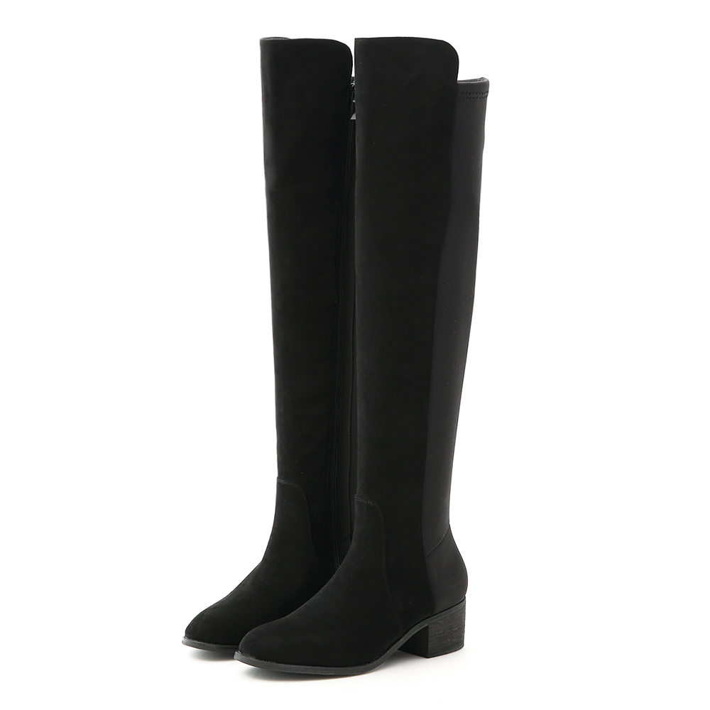 Stretch Panel Knee High Boots Textured black