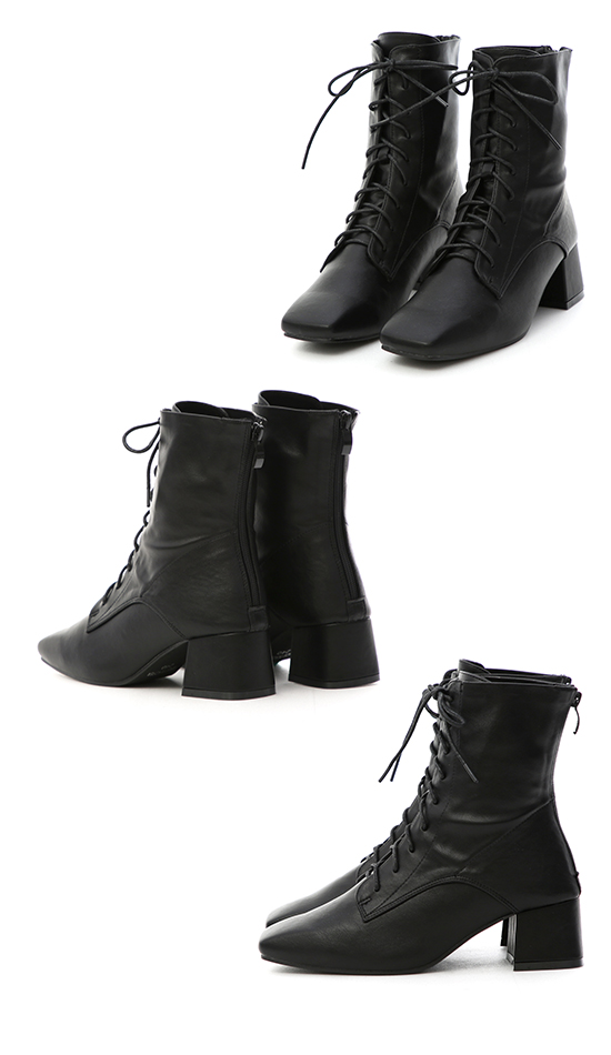 Faux Leather Lace-Up Mid Heel Boots Black