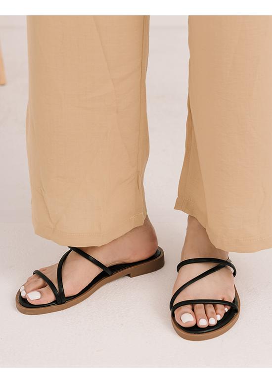 Z Strap Cushioned Sandals Black